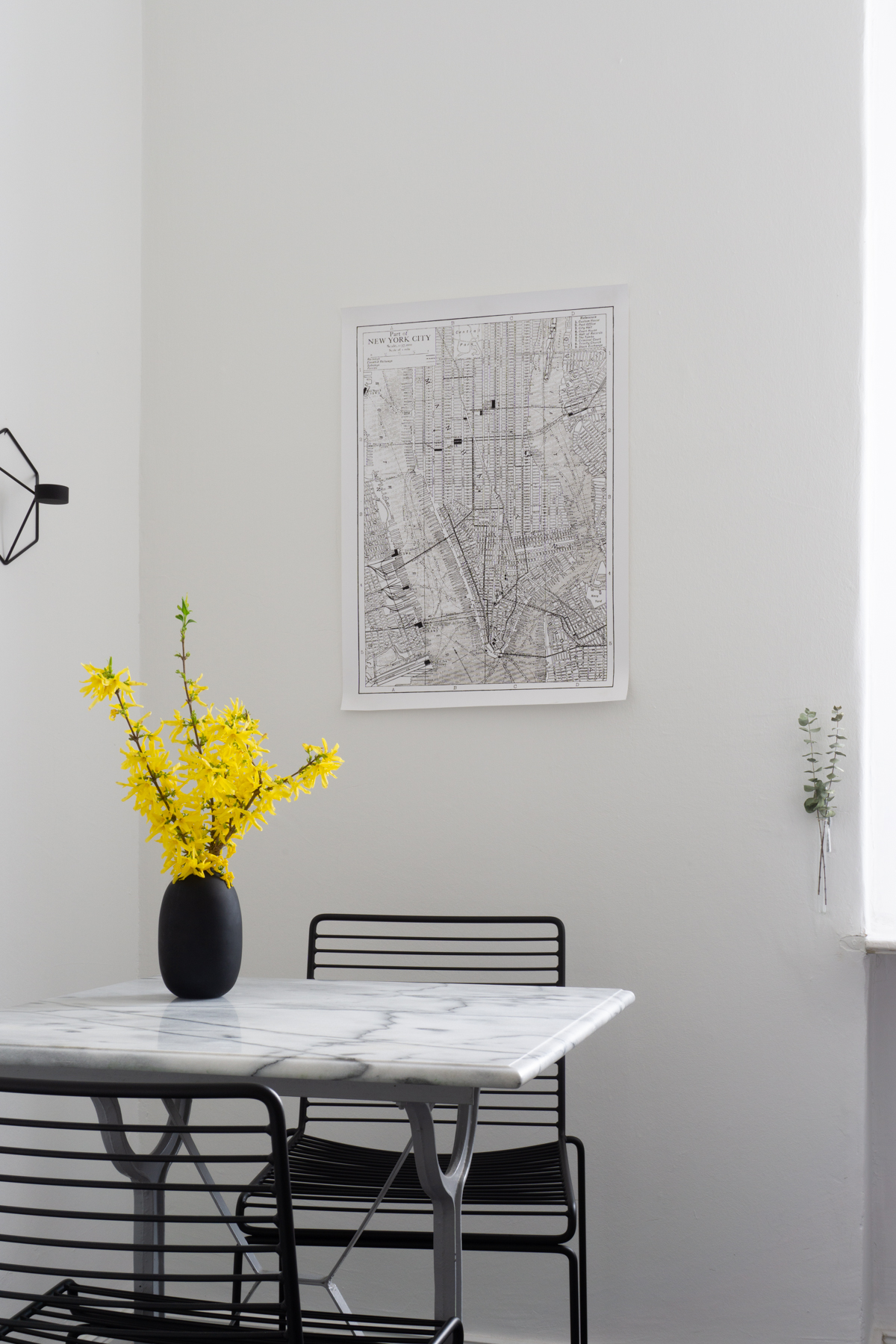 Minimalist Scandinavian Kitchen - Marble Table, HAY HEE Chair, Menu POV, Yellow Flowers, Forsythia - RG Daily Blog Interior Style