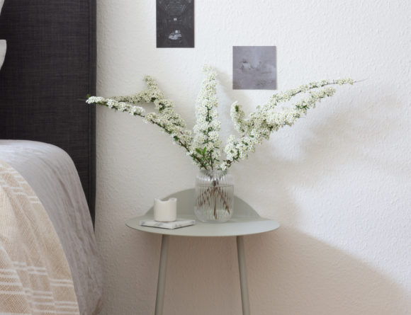 Scandinavian Bedroom, Minimalist Bedside Table, Fresh Flowers, Menu Yeh Wall Table - RG Daily Blog Interior Style