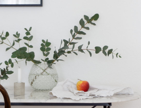 French Inspired Vintage Still Life - Marble Table, Eucalyptus, Apple, Candle - Scandinavian Interior / RG Daily Blog