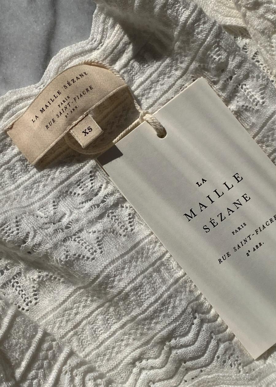 Sézane Cream Knit Blouse, French Fashion