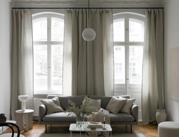 Grey Sofa, Beige Interior Design, Aalto Vase, Linen Curtains