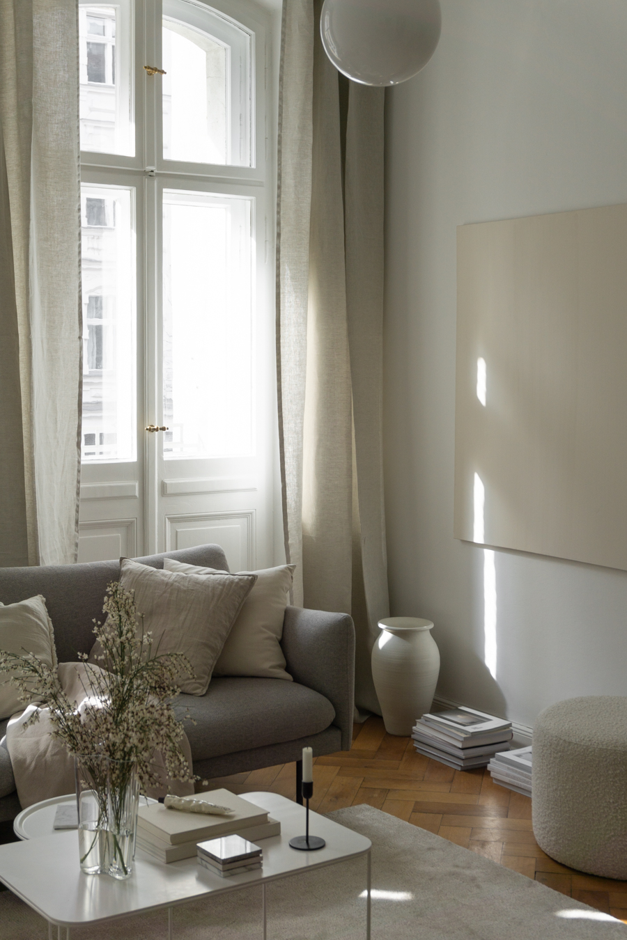 Airy Living Room, Beige Linen Curtains, Grey Sofa
